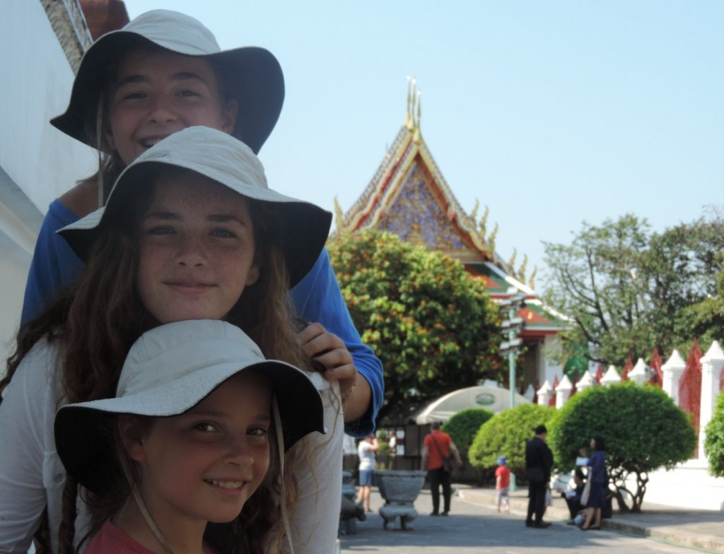 Sarah, Emma and Clara at Wat Arun, Bangkok